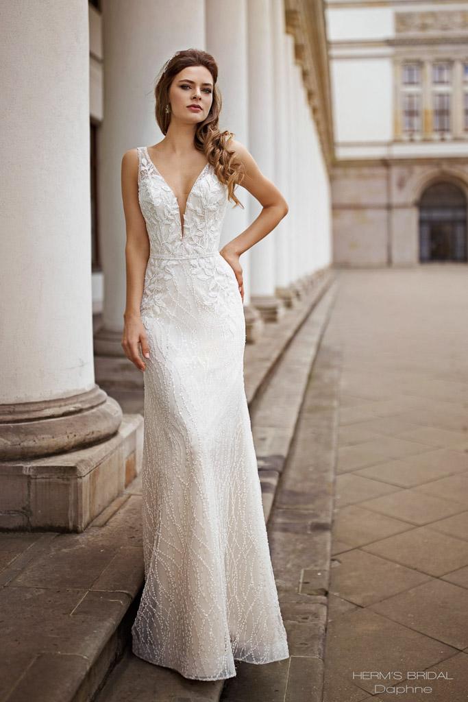 Suknia ślubna z koronki z koronką z koronkowego materiału