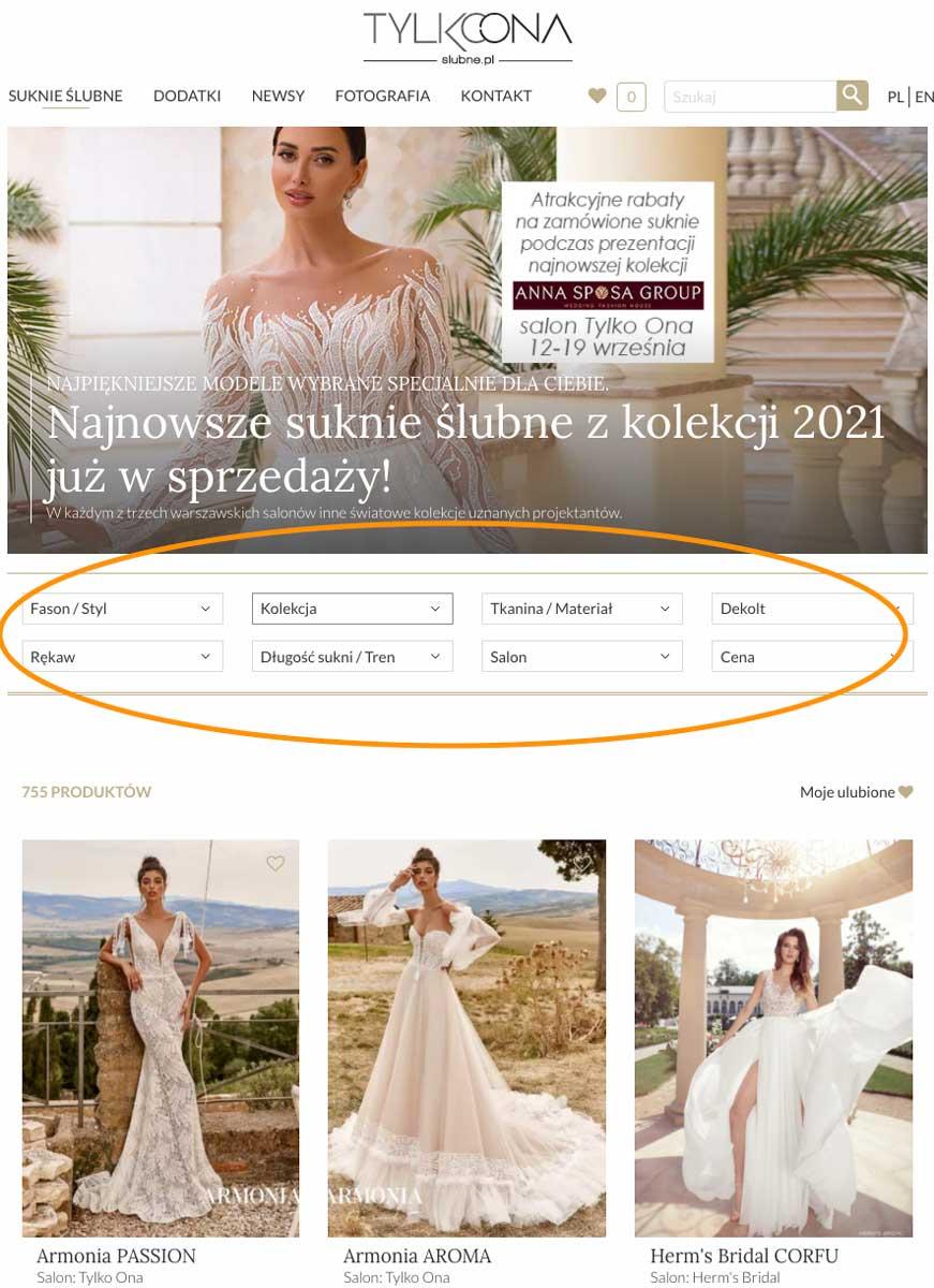 filtry na stronie slubne.pl
