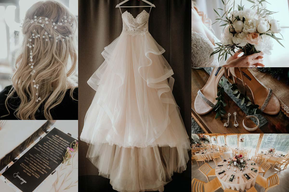 moodboard wesele suknia ślubna i dodatki