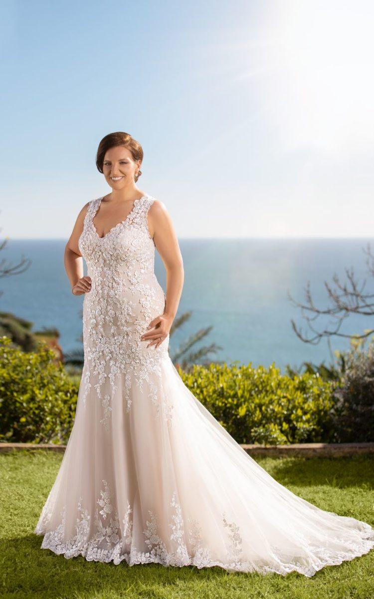 Suknia ślubna dla puszystych na grubych ramiączkach